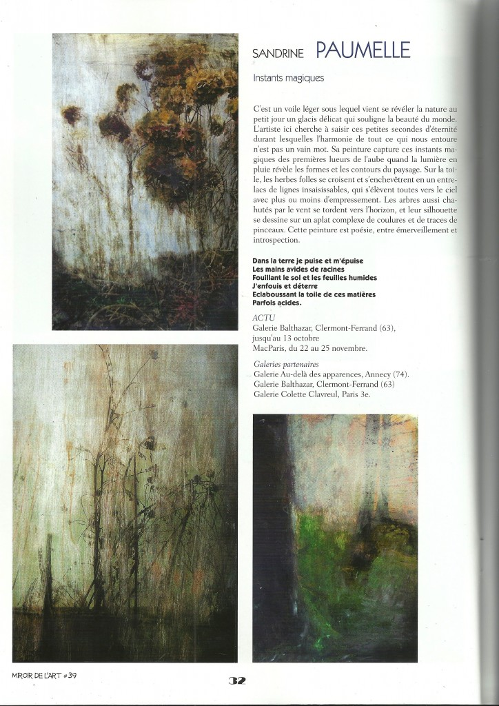 Sandrine Paumelle - Instants magiques - Miroir de l'art N° 39